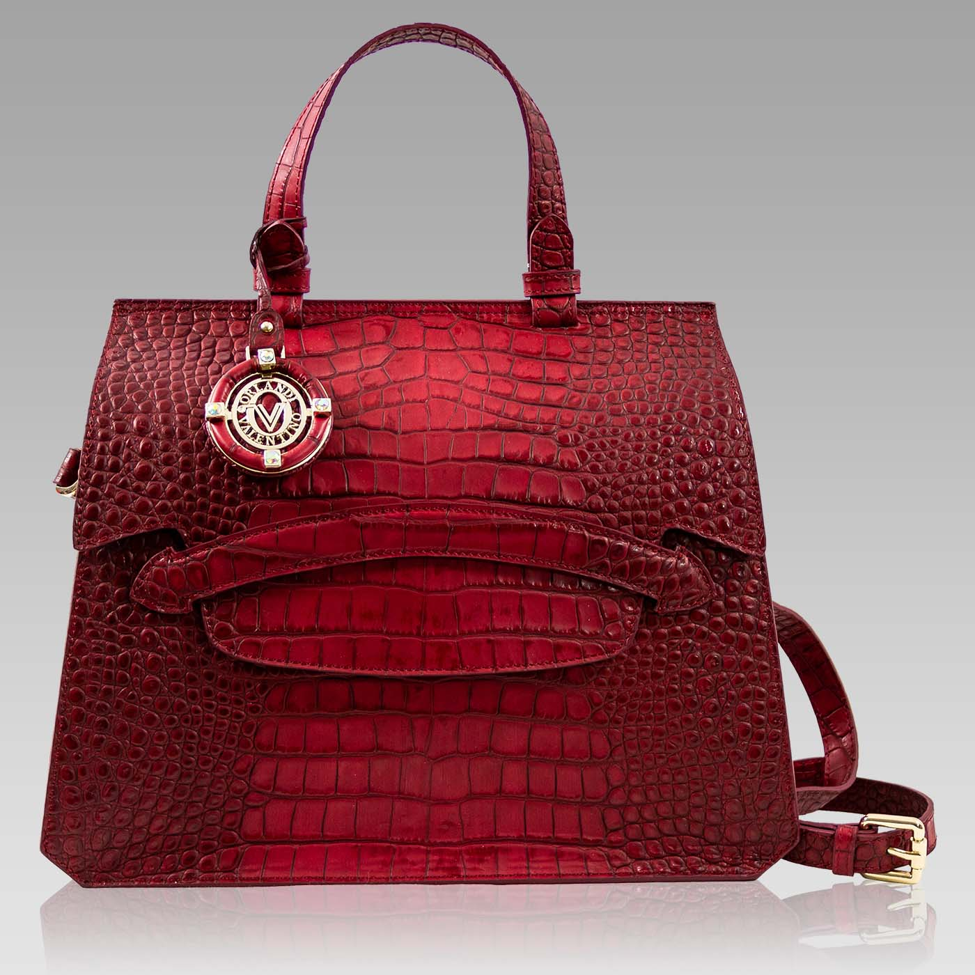 Valentino Orlandi Large Purse Scarlet Red Croc Embossed Leather Tote