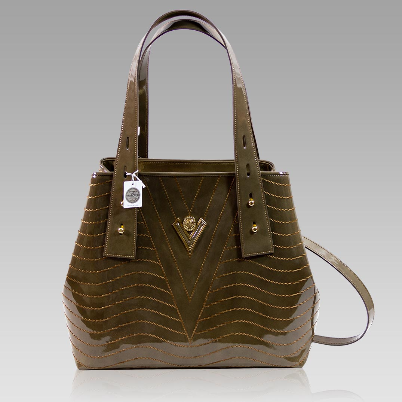 Valentino Orlandi Large Tote Jasper Green Wavy Leather Crossbody Bag
