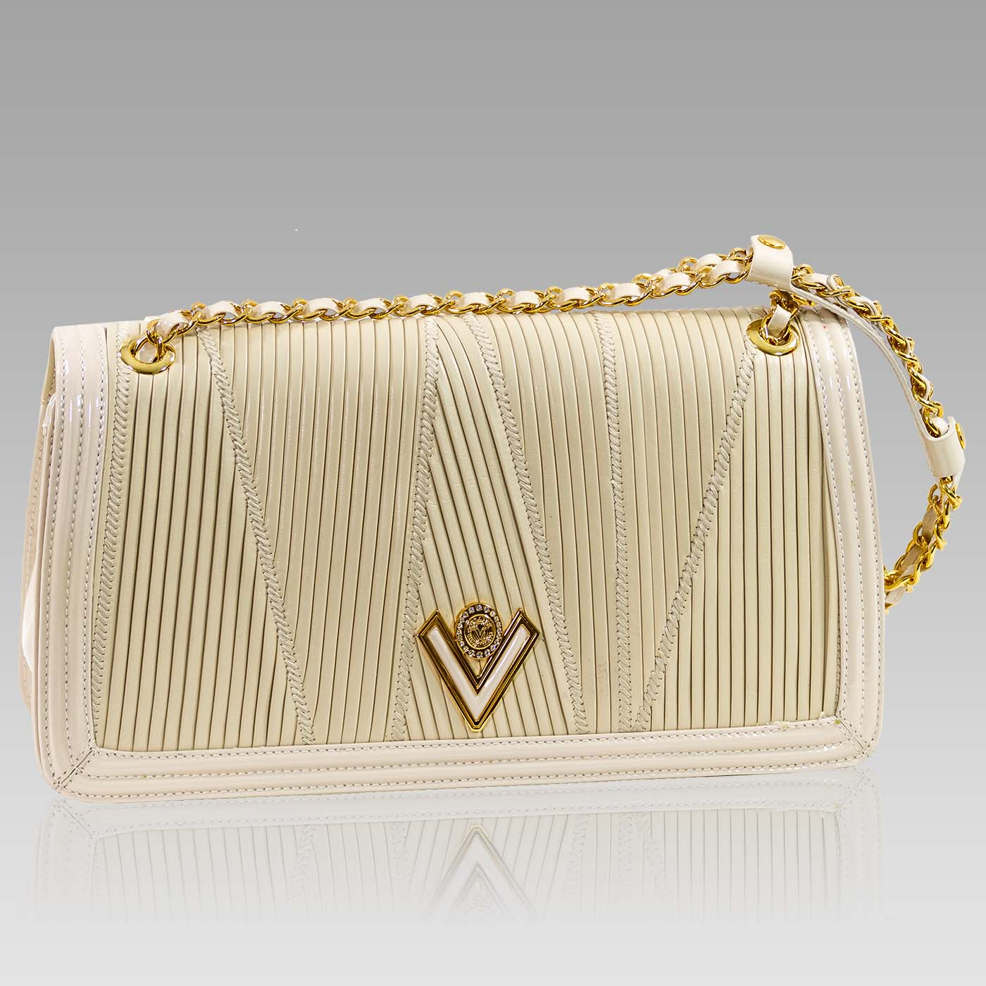 Valentino Orlandi Medium Purse Alebaster Pleated Leather Bag w/Chain