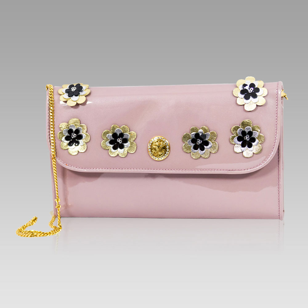 Valentino Orlandi Large Wallet Foldover Clutch Bag In Flamingo Leather
