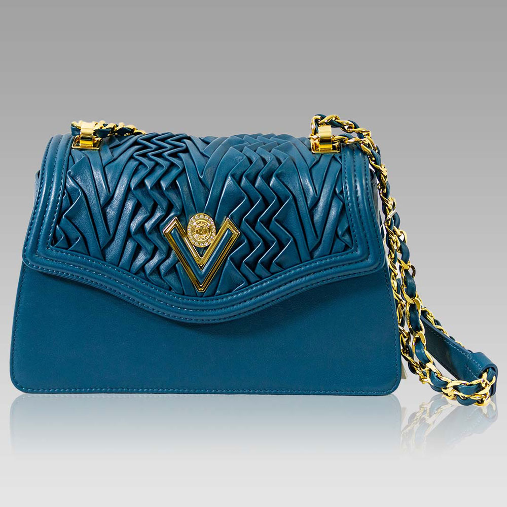 Valentino Orlandi Pleated Draped Seafoam Blue Leather Purse Chain Bag