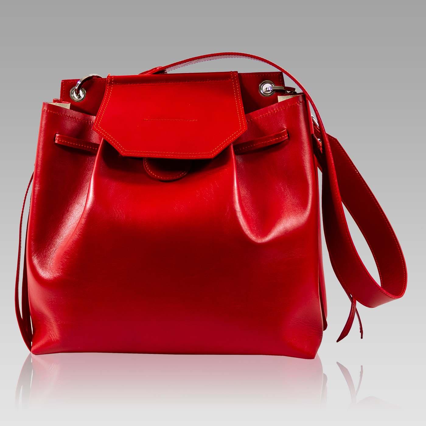 Valentino Orlandi Purse Scarlet Red Leather Drawstring Crossbody Bag