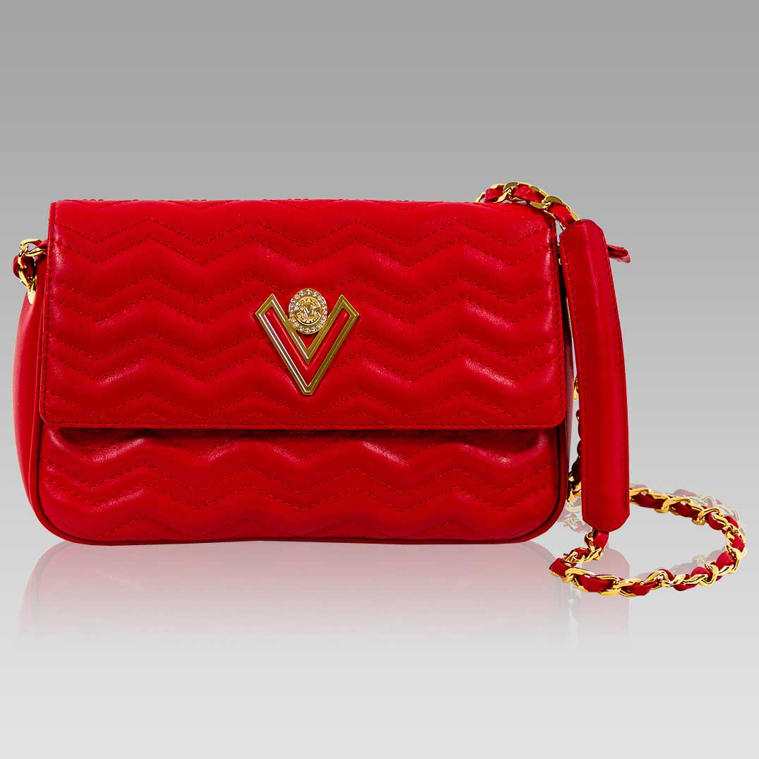 Valentino Orlandi Small Foldover Clutch Scarlet Red Wavy Leather Purse