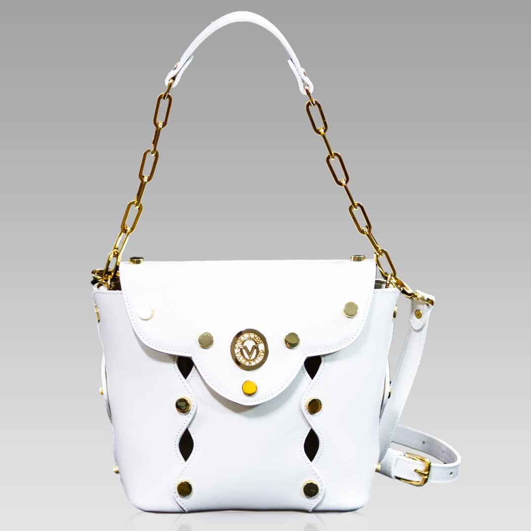 Valentino Orlandi Small Purse White Cutout Leather Bucket Bag w/Studs