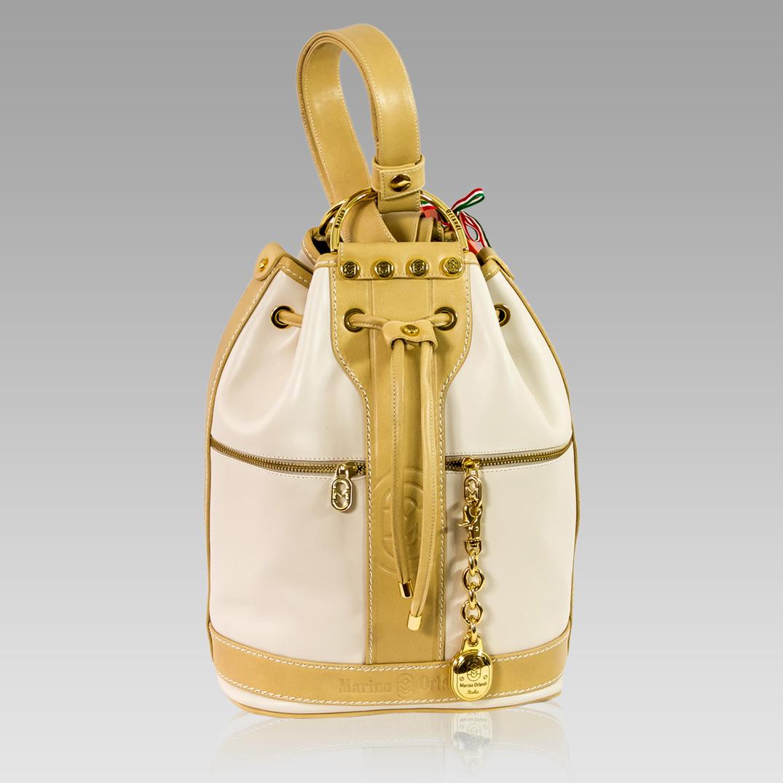 Marino Orlandi Large Bucket Purse Leather Backpack Bag in Ivory/Tan