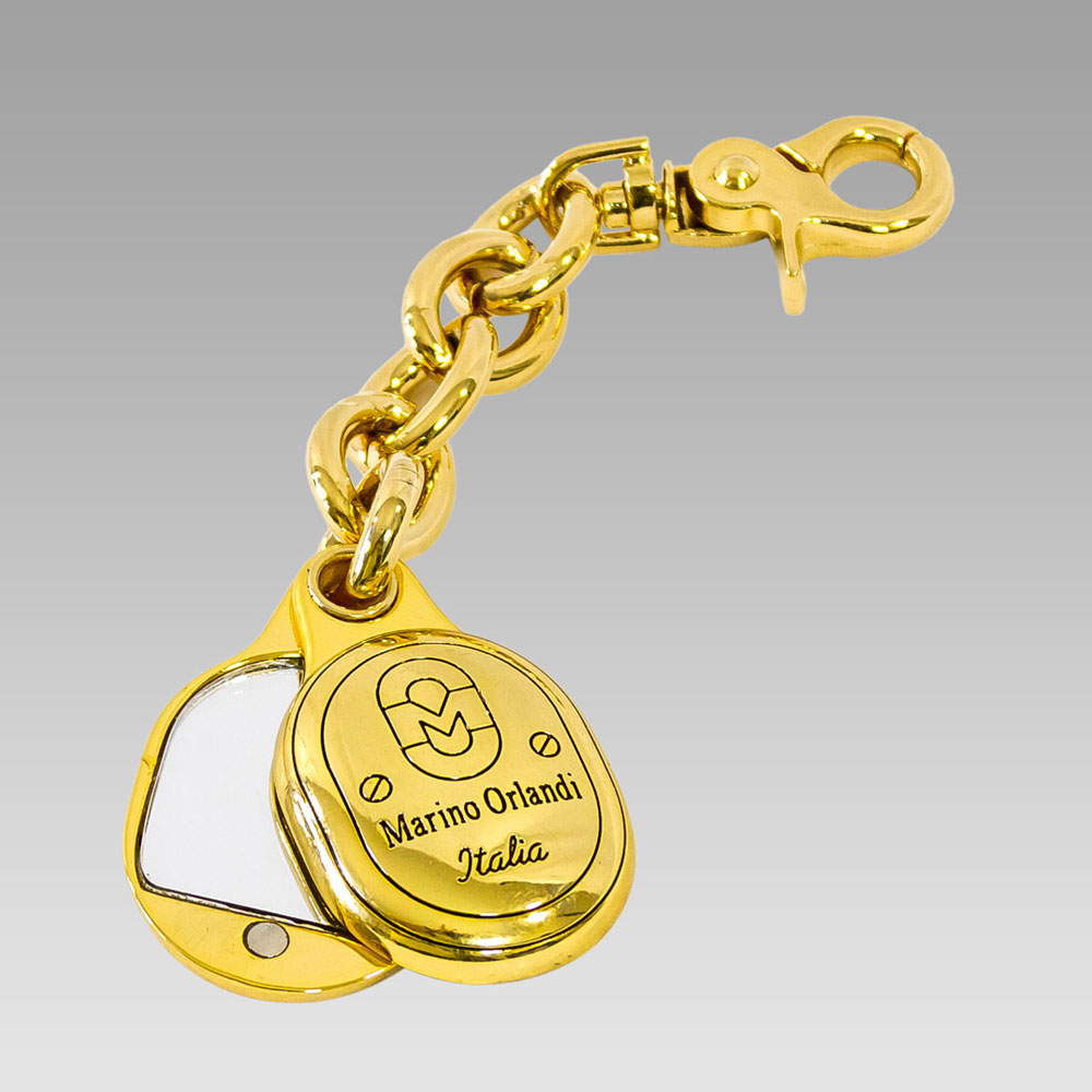 Marino Orlandi Signature Gold Plated Mirror Logo Purse Keychain Keyfob