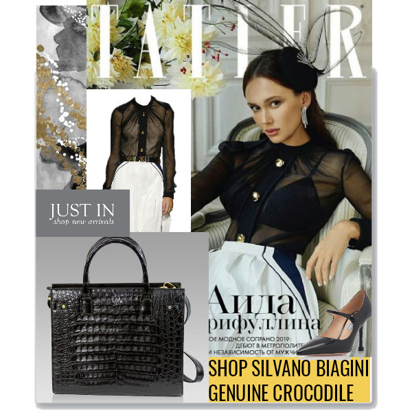 Silvano_Biagini_Onyx_Genuine_Crocodile_Leather_Large_Tote_Purse_Bag