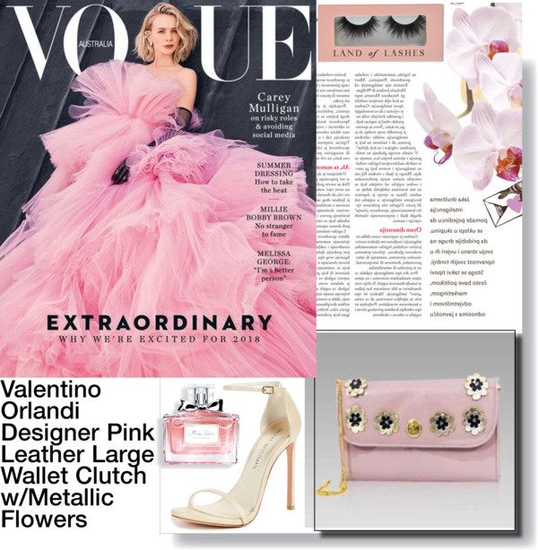 Valentino_Orlandi_Pink_Lavender_Leather_Large_Wallet_Clutch_w_Flowers
