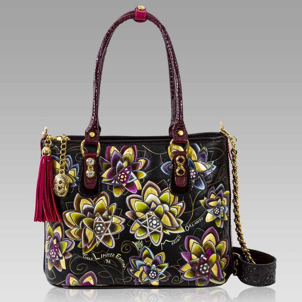 Marino Orlandi Purse Handpainted Floral Leather Bag Tote w/ Swarovski