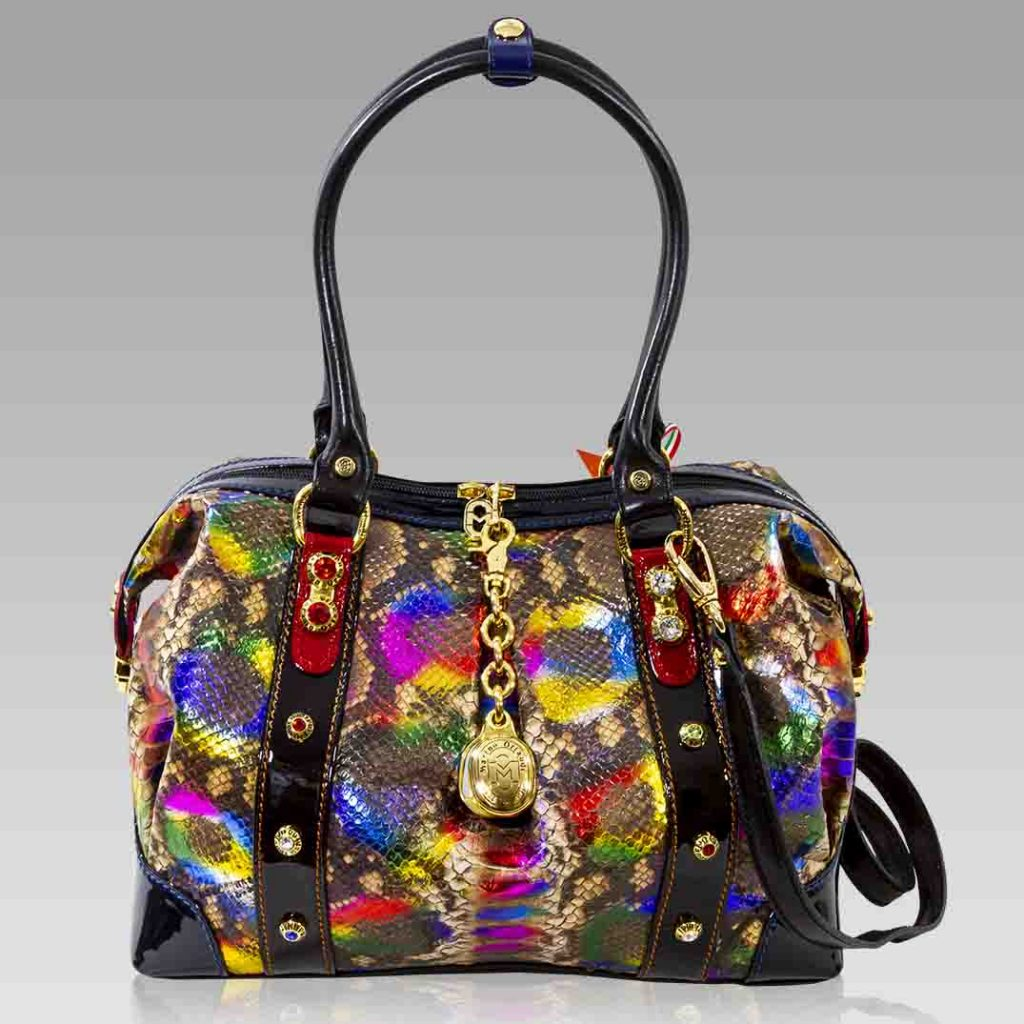 Marino Orlandi Large Tote Rainbow Python Leather Boxy Bag w/ Swarovski