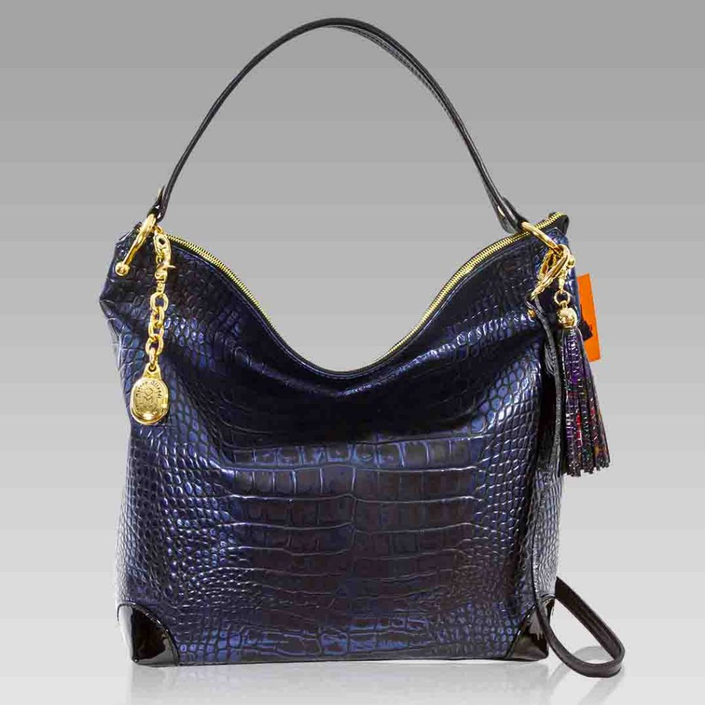 Marino Orlandi Extra Large Purse Blue Metallic Croc Leather Hobo Bag