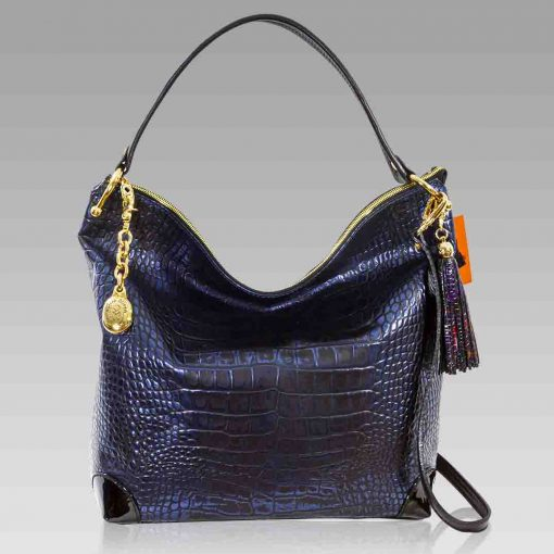 Marino Orlandi Extra Large Purse Blue Metallic Croc Leather Hobo Bag