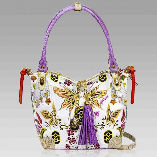 Marino Orlandi Purse Handpainted Butterflies Leather Hobo w/ Swarovski