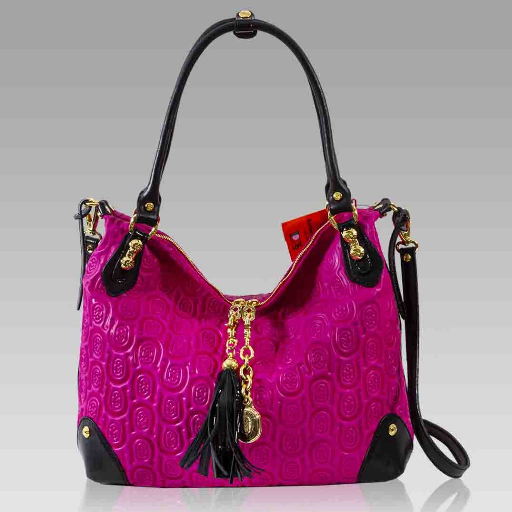 Marino Orlandi Large Purse Fuchsia Horseshoe Embossed Leather Hobo Bag