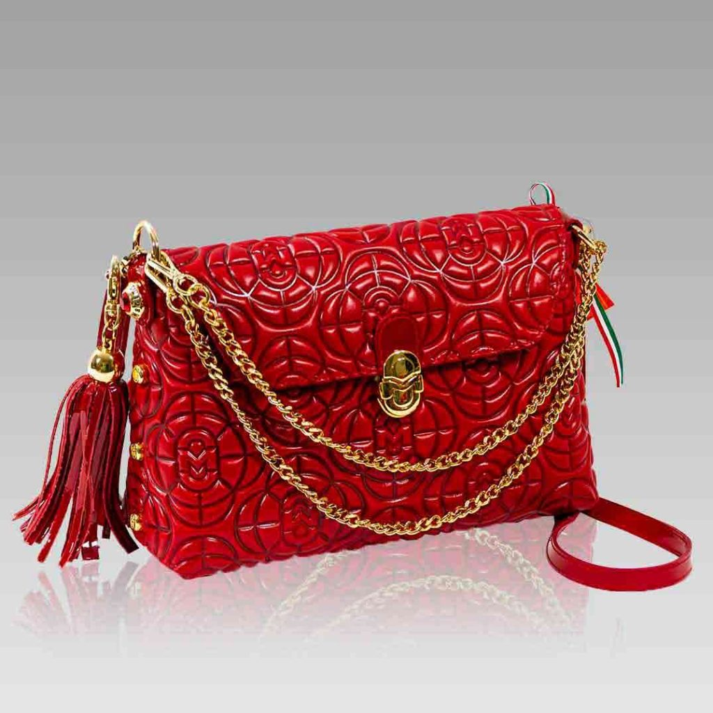 Marino Orlandi Purse Messenger Bag Red Quilted Leather Clutch w/Chain