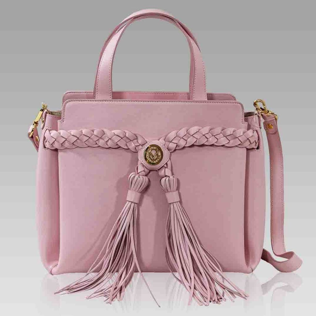 Valentino Orlandi Tote Rose Leather Crossbody Bag w/ Braided Tassels