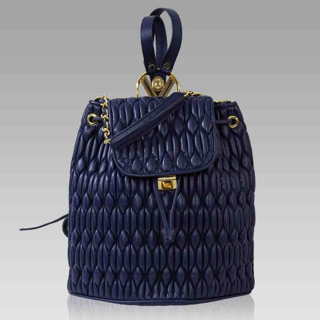 Valentino Orlandi Large Backpack Purse Blue Quilted Leather Bucket Bag
