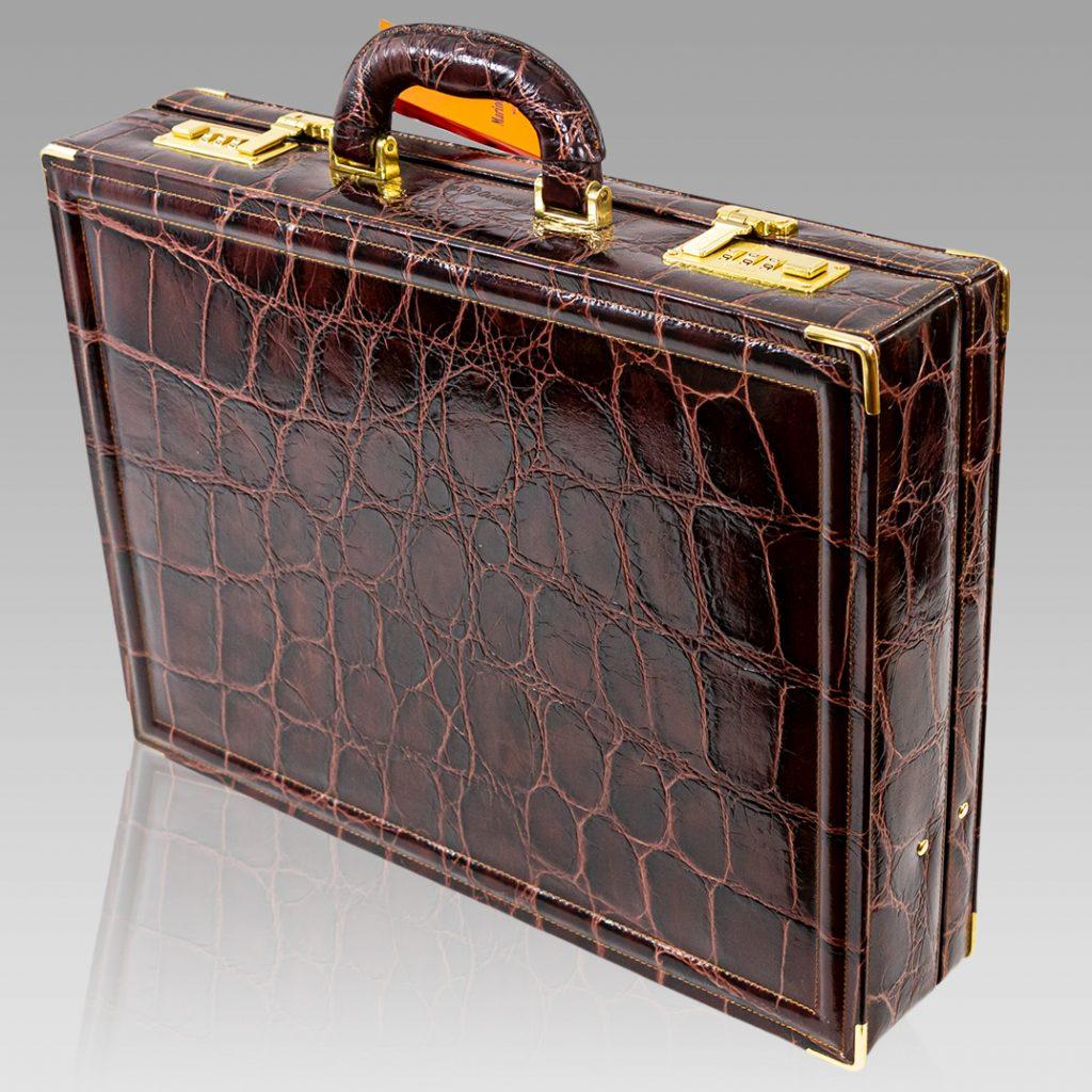 Marino Orlandi Viceroy Briefcase Chocolate Croc Leather Attache Bag