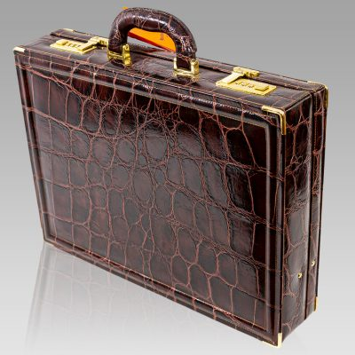 Marino Orlandi Viceroy Briefcase Chocolate Croc Leather Attache Bag