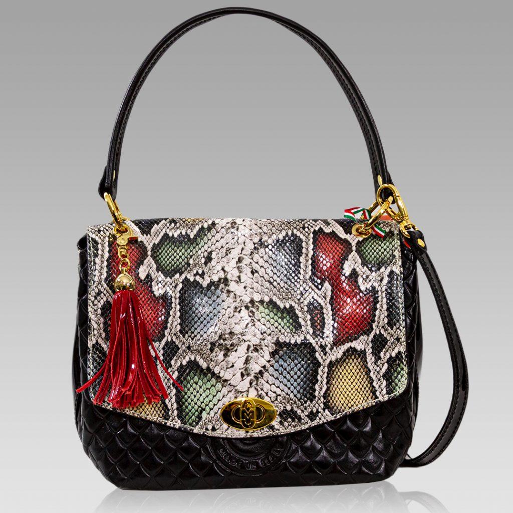Marino Orlandi Antracite Python Embossed Leather Messenger Purse Bag