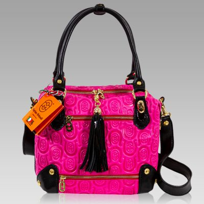 Marino Orlandi Fuchsia Horsheshoe Leather Box Bag Crossbody Purse