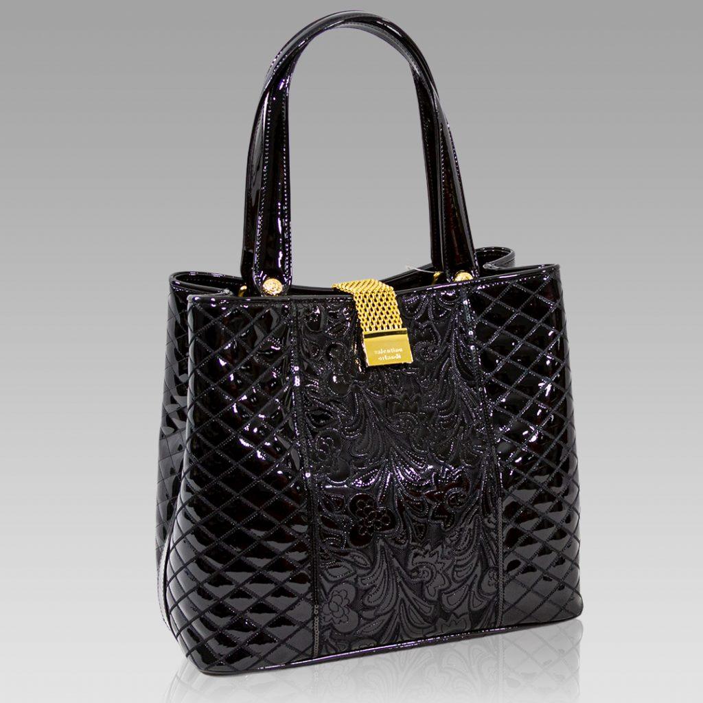 Valentino Orlandi Large Tote Onyx Black Embroidered Leather Purse Bag