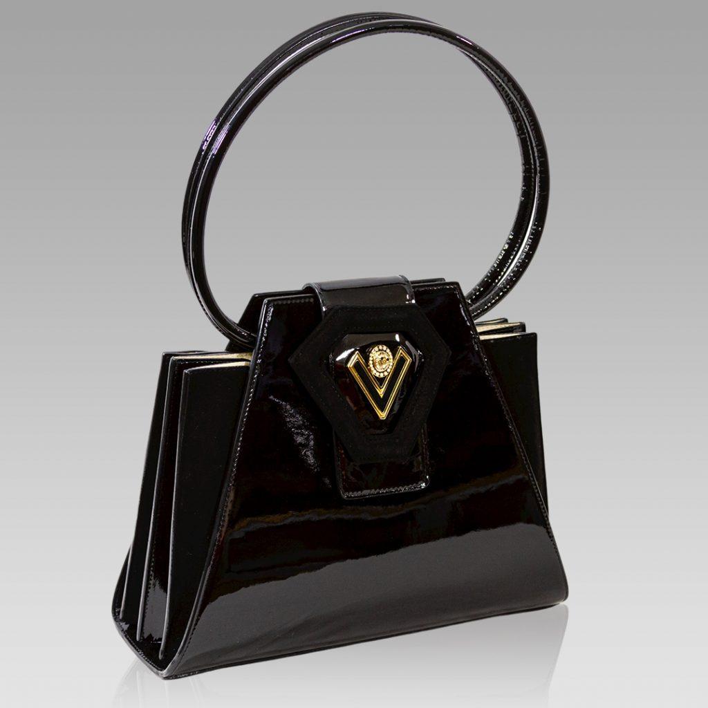 Valentino Orlandi Handbag Tote Purse Onyx Leather Bag w/Circle Handles