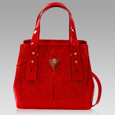Valentino Orlandi Crossbody Bag Scarlet Red Embroidered Leather Purse