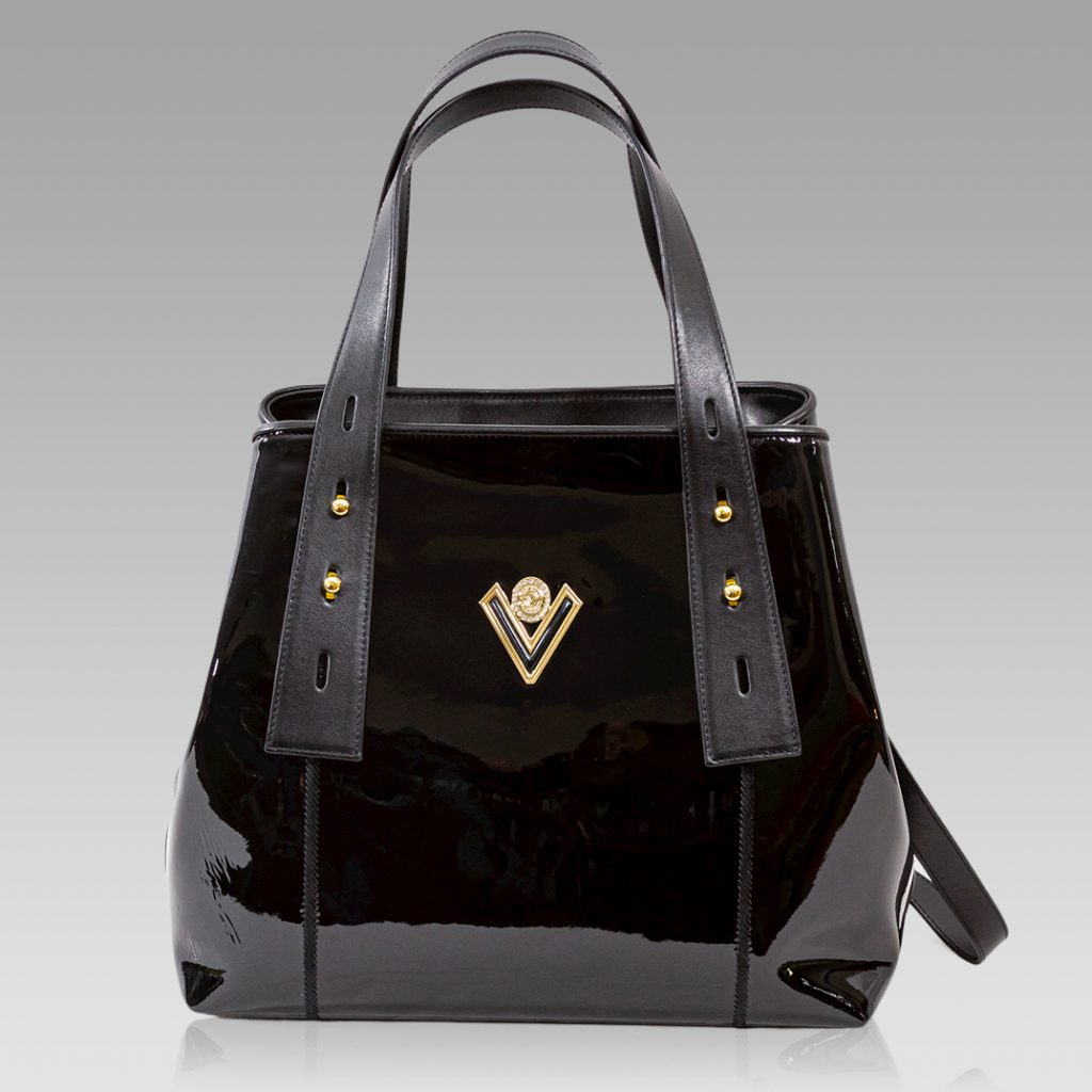 Valentino Orlandi Crossbody Bag Onyx Patent Leather Convertible Purse