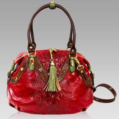 Marino Orlandi Crossbody Bag Red Alligator Leather Purse w/Swarovski