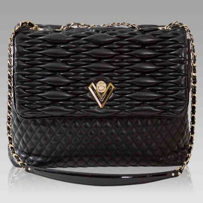 Valentino Orlandi Obsidian Chanel Leather Messenger Bag Purse w/Chain