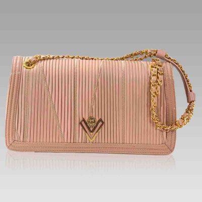 Valentino Orlandi Medium Clutch Bag Nude Plisse Leather Purse w/Chain
