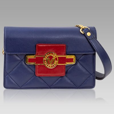 Valentino Orlandi Clutch Bag French Blue Chanel Leather Purse w/Chain