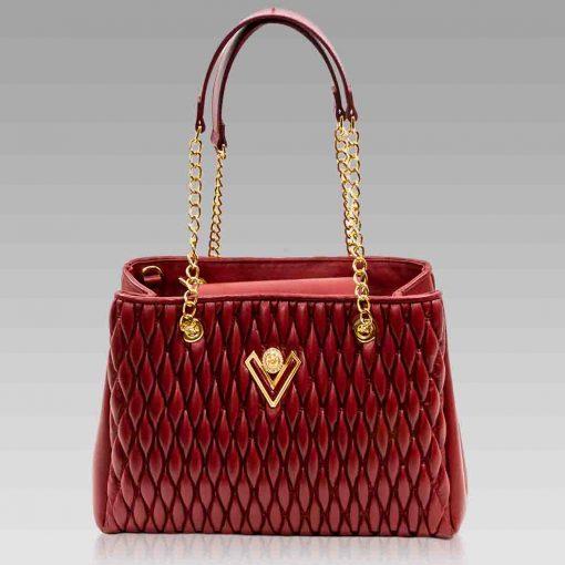 Valentino Orlandi Tote Crossbody Bag Red Chanel Leather Purse w/Chain